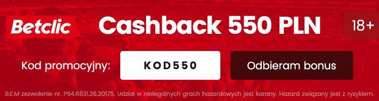 betclic online cashback 550 pln